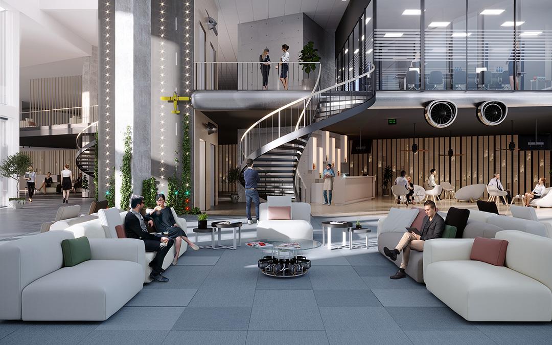 Mondo on dynaaminen ja näkyvä toimistomajakka Aviapoliksessa